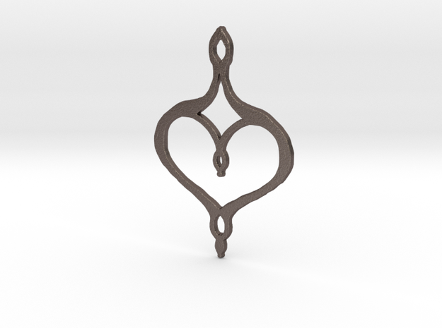 :Perfect Valentine: Pendant in Polished Bronzed Silver Steel