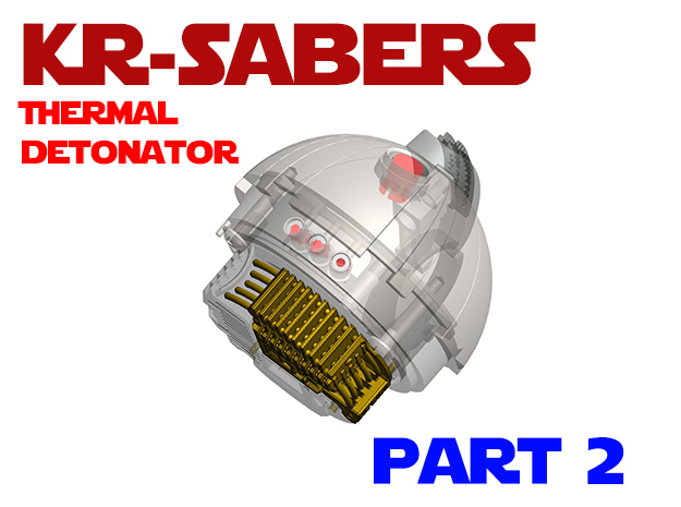 KR-Sabers - Thermal Detonator Chassis Part2 in White Natural Versatile Plastic