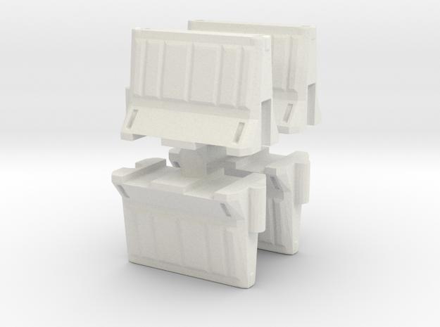 Interlocking traffic barrier (x4) 1/56 in White Natural Versatile Plastic