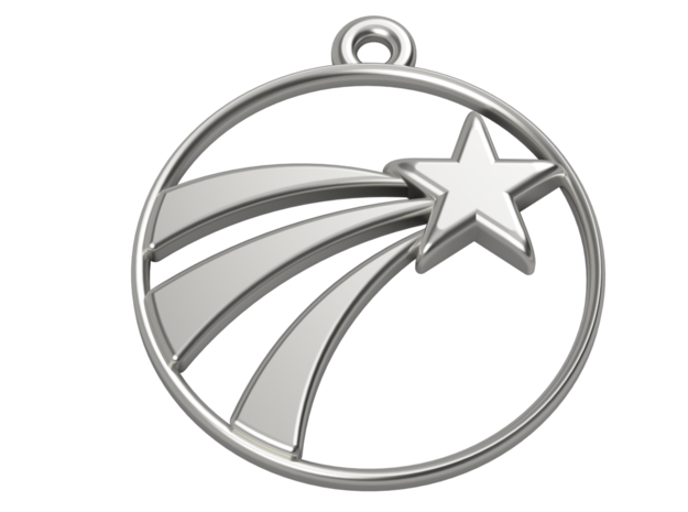 A Lucky Pendant of a   Shooting Star  in Polished Silver