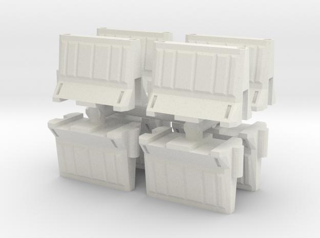 Interlocking traffic barrier (x8) 1/24 in White Natural Versatile Plastic