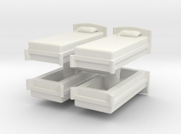 Single Bed (x4) 1/120 in White Natural Versatile Plastic