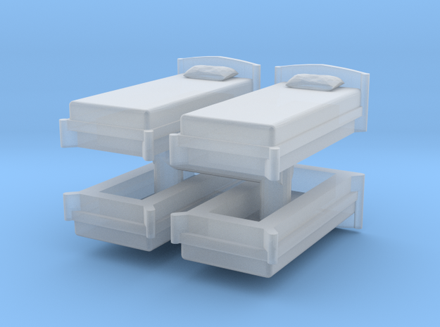 Single Bed (x4) 1/144 in Smooth Fine Detail Plastic