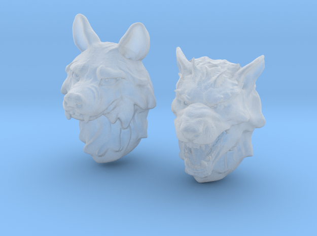 Anthropomorphic wolf heads (HSD miniatures) in Smoothest Fine Detail Plastic