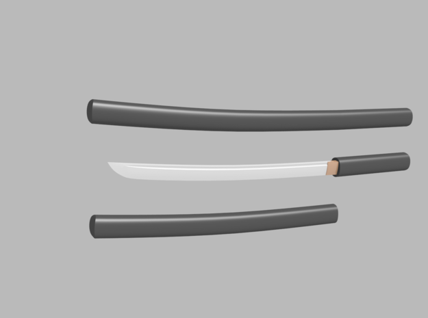 Wakizashi - 1:12 scale - Curved blade - Plain in Smooth Fine Detail Plastic