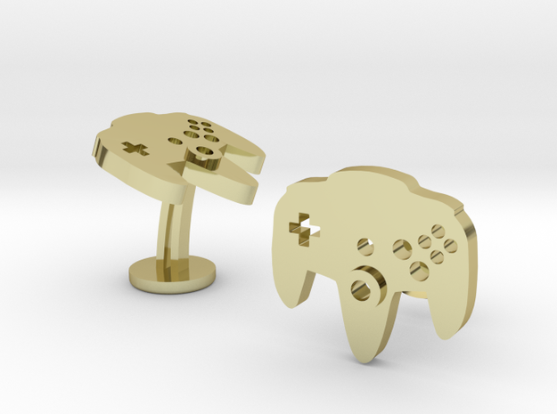 Nintendo 64 N64 Cufflinks in 18k Gold Plated Brass