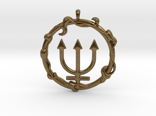LIQUID Neptune Planetary Jewelry Necklace Symbol 3d printed