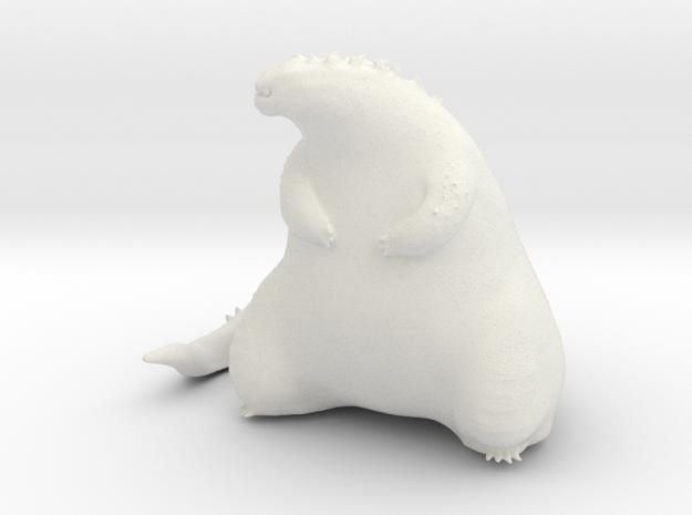Cute Fat Godzilla in White Natural Versatile Plastic