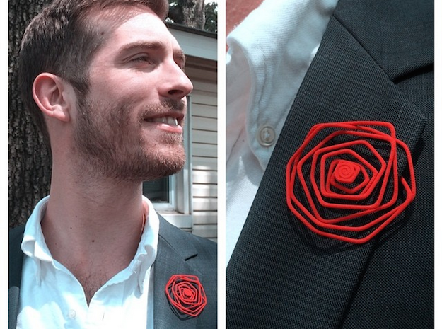 Wire Lapel Flower in Red Processed Versatile Plastic