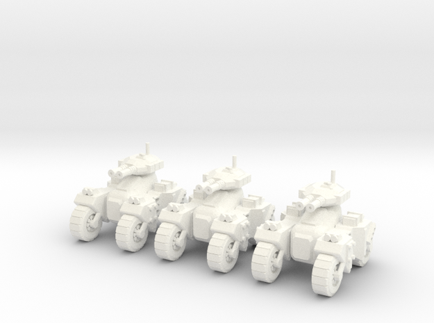 6mm - Devastator Assault Tank in White Processed Versatile Plastic
