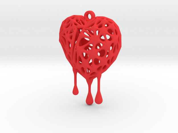 Bleeding Heart Earring (Small001) in Red Processed Versatile Plastic