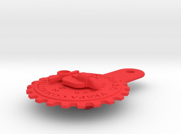 2019 Raduno licence plate badge in Red Processed Versatile Plastic