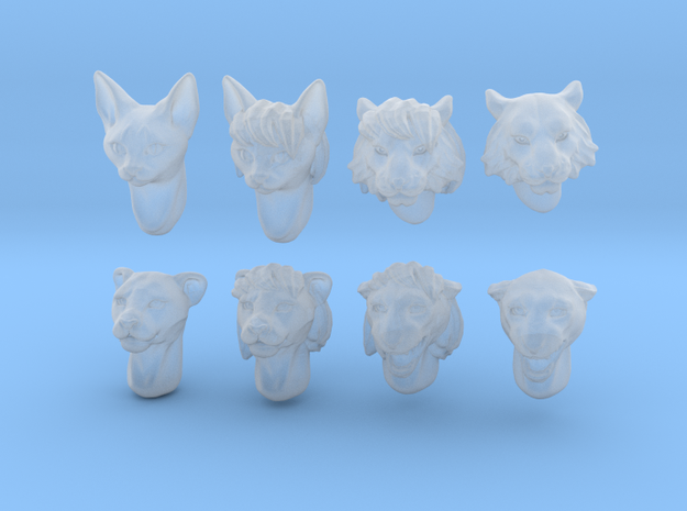 Anthropomorphic cat heads (HSD miniatures) in Smooth Fine Detail Plastic