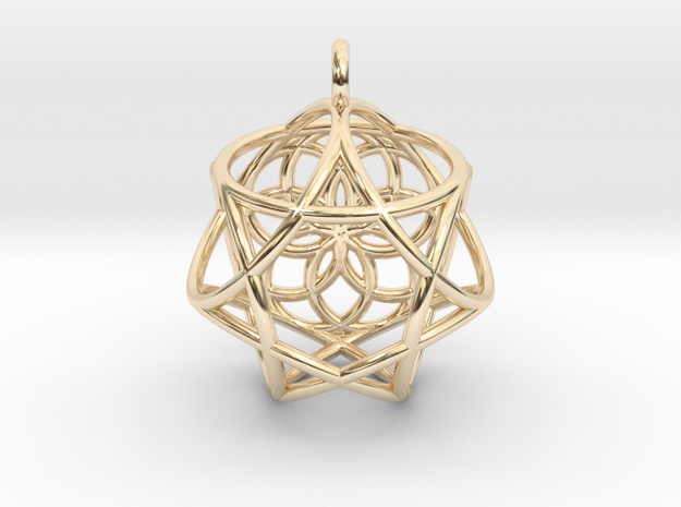 Icosa Heptagram in 14k Gold Plated Brass