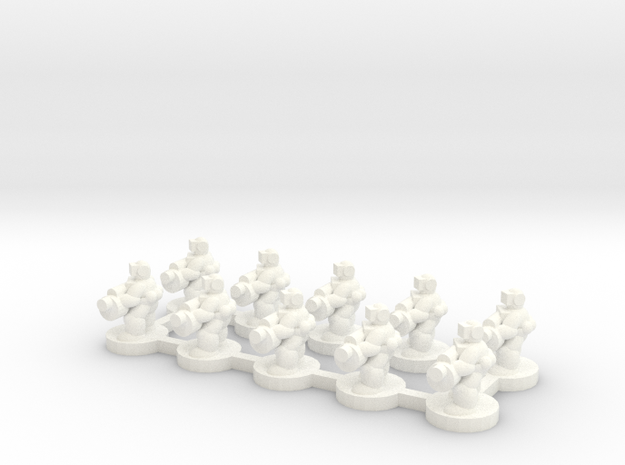 6mm - Urban Grenade Launcher Troops x 10 in White Processed Versatile Plastic