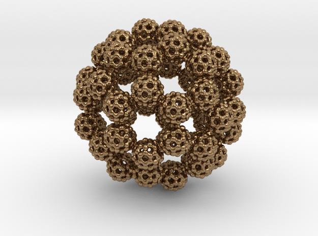 Fractal Fullerene Pendant 3d printed Gold Plated