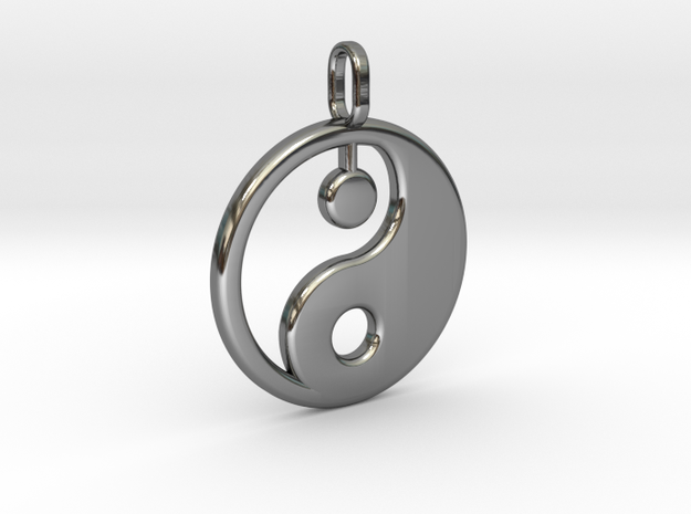 Yin yang pendant in Fine Detail Polished Silver: Medium