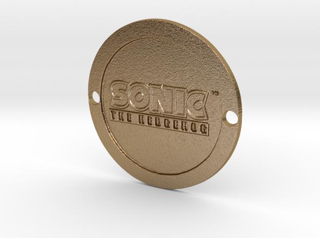 Sonic the Hedgehog Custom Sideplate 1 in Polished Gold Steel