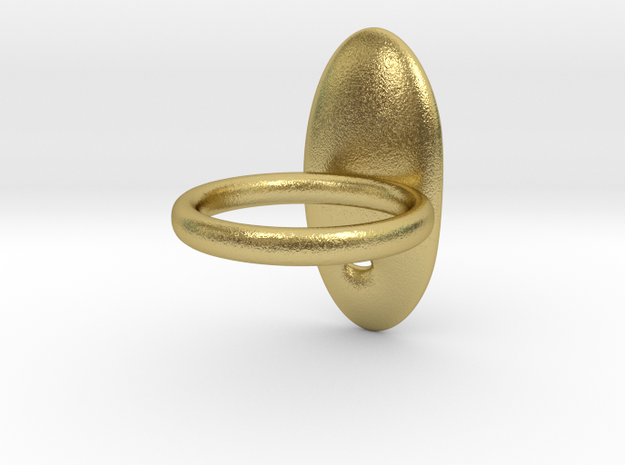 RING PEBBLE V4 vertical in Natural Brass