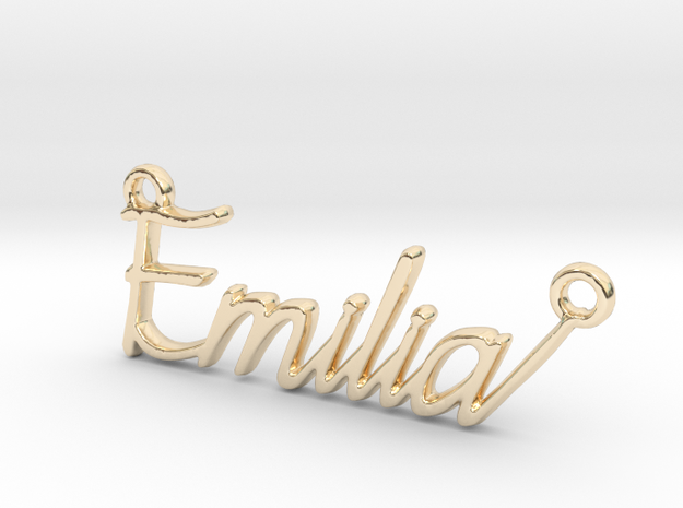Emilia First Name Pendant in 14k Gold Plated Brass