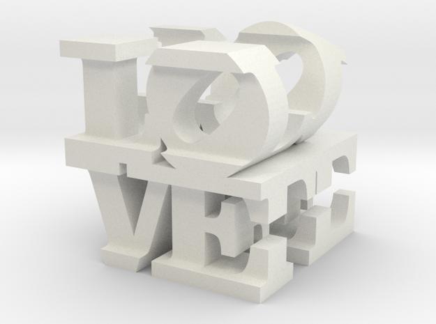 "love/life - small (1"") in White Natural Versatile Plastic"