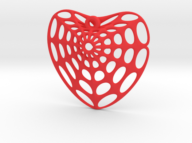 DingDong Surface Heart Earring (001) in Red Processed Versatile Plastic