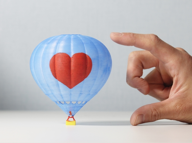 Hot Air Balloon with Heart (Unpainted) in White Natural Versatile Plastic