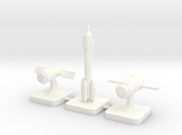 Mini Space Program, CNSA, 3-set in White Processed Versatile Plastic