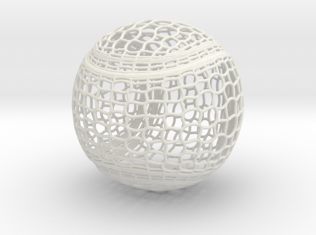Tennis Ball Curve Wire Mesh in White Natural Versatile Plastic