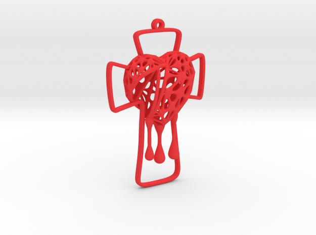 Voronoi Bleeding Heart + Cross Earring (001) in Red Processed Versatile Plastic