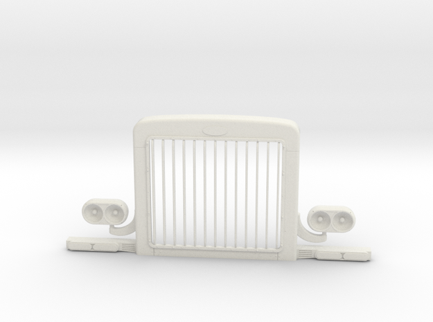 1/16 scale Peterbilt Optional Hood grill in White Natural Versatile Plastic