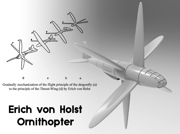 (1:144) Eric von Holst's Ornithopter (Sprued parts in White Natural Versatile Plastic