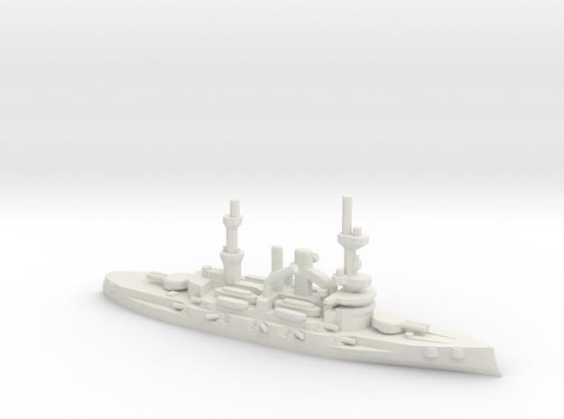 German Deutschland-Class Battleship in White Natural Versatile Plastic: 1:1800