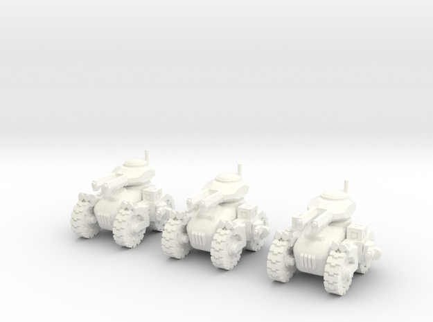 6mm - All terrain Dual Railgun Assault Tank in White Processed Versatile Plastic