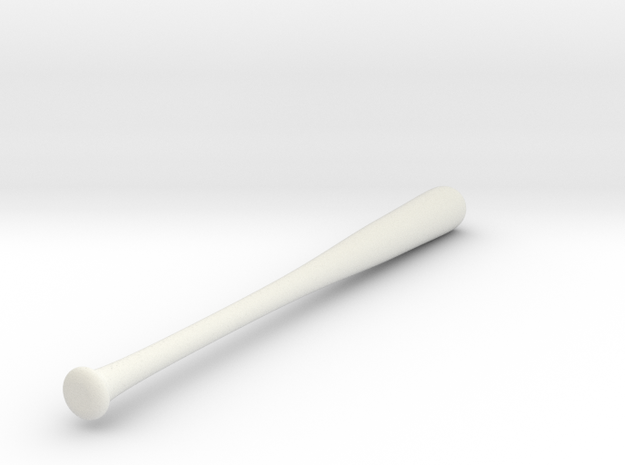 1/3 Scale Baseball Bat in White Natural Versatile Plastic