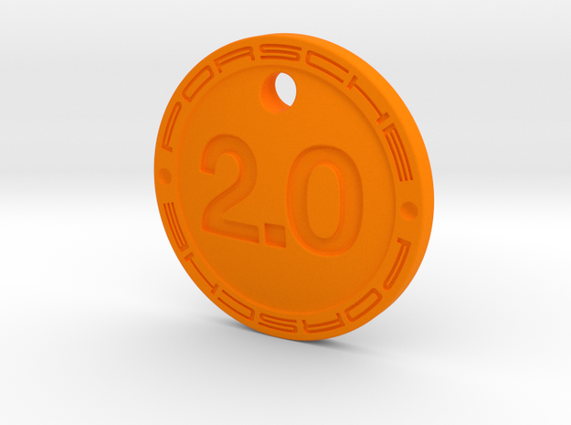 2.0 Liter Porsche Keychain in Orange Processed Versatile Plastic