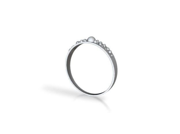Bubbly Ring in Raw Silver