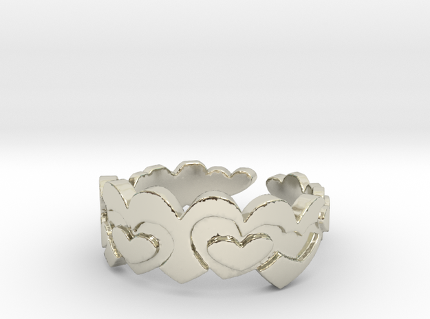 Open Layered Hearts Ring Size 8 3d printed