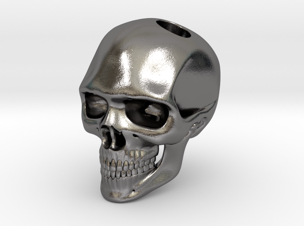 HUGE SOLID SKULL PENDANT (40mm H) in Polished Nickel Steel