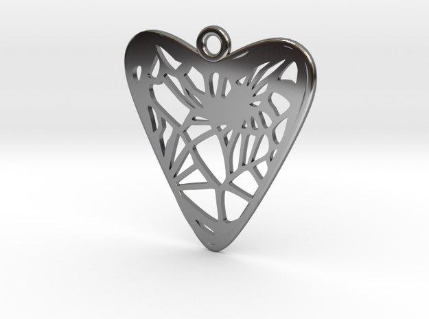 Voronoi Heart Earring (001c) in Fine Detail Polished Silver