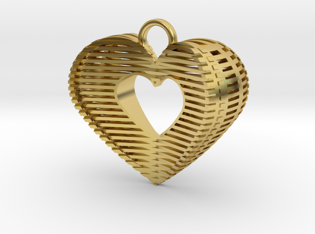 3D Hart Pendant in Polished Brass