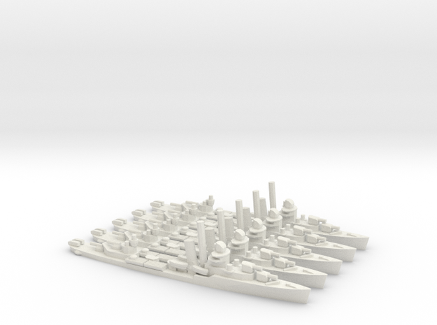 US Bagley-Class Destroyer (x5) in White Natural Versatile Plastic