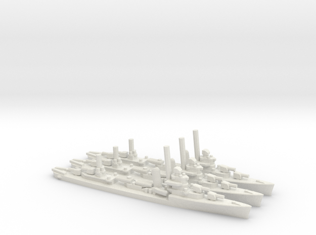 US Sims-class Destroyer (x3) in White Natural Versatile Plastic