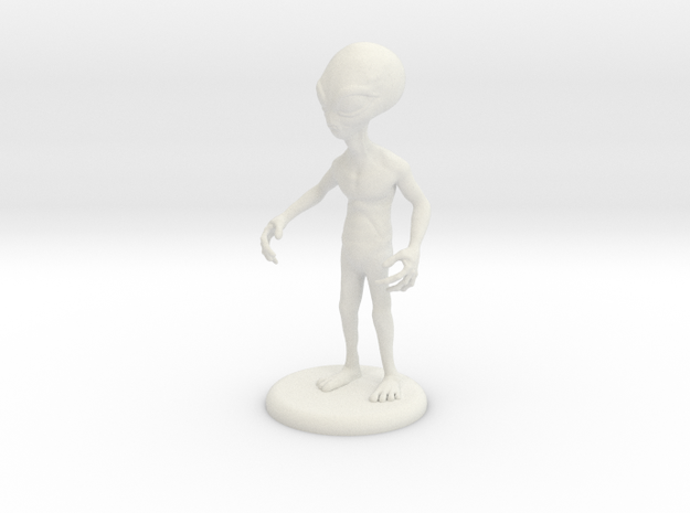 """Area 51 """"The Grey"""" Alien 4.25"""" Figure with Base in White Natural Versatile Plastic"""
