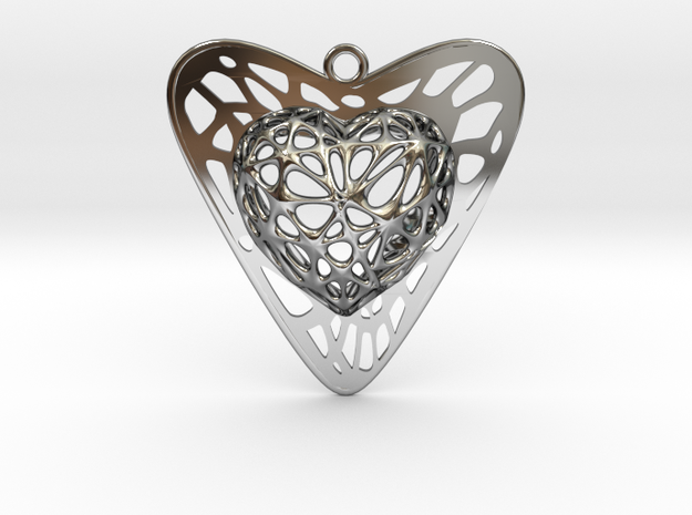 Voronoi Heart+Heart Pendant (001) in Fine Detail Polished Silver