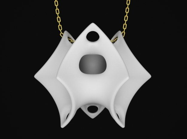 Batwing Surface Pendant in White Natural Versatile Plastic: Small