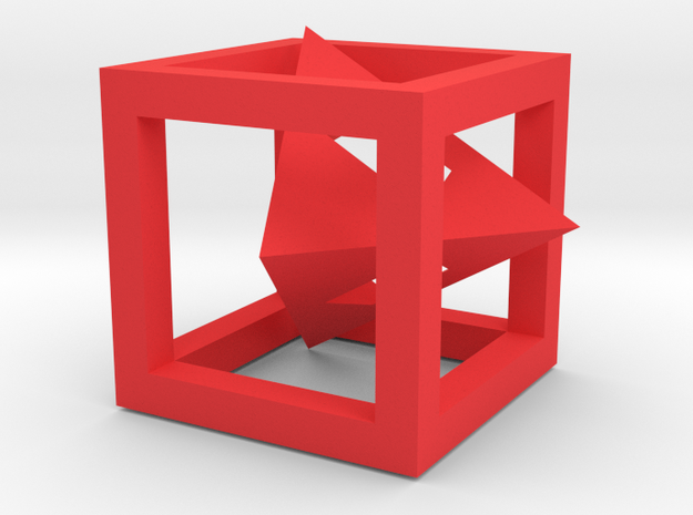 EB Cubic Chamber - Assembly 1 (1) in Red Processed Versatile Plastic