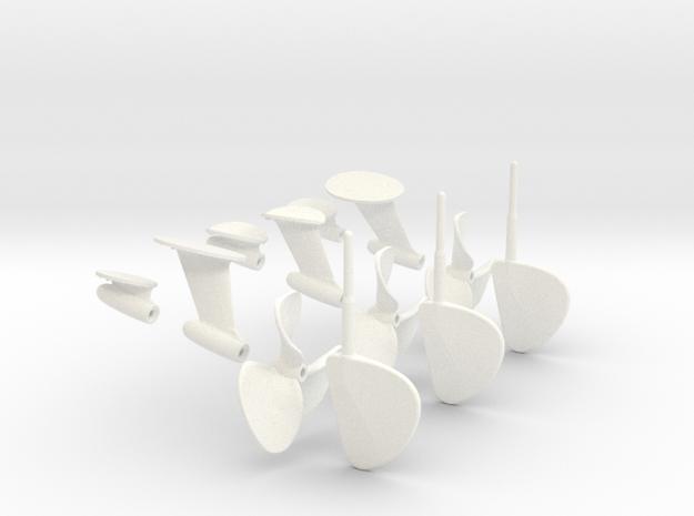 1/16 PT Elco Early Rudder-Prop-Shaft Strut Set002 in White Processed Versatile Plastic