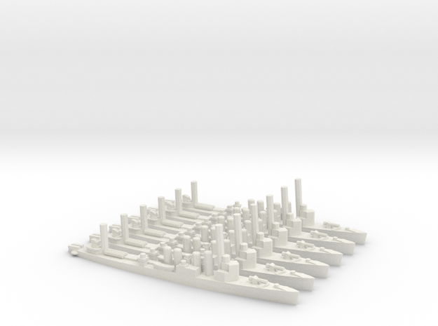British Town-Class Destroyer (v1) (x6) in White Natural Versatile Plastic