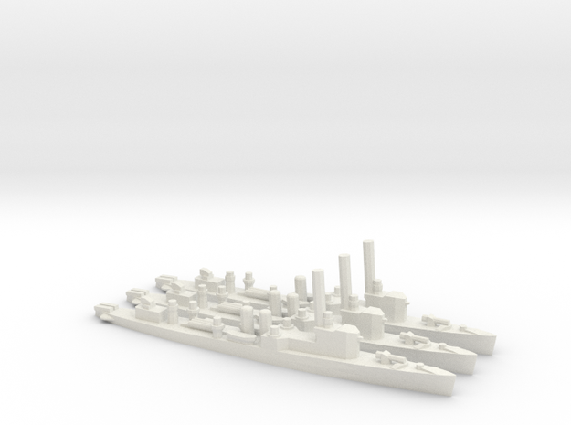 British Town-Class Destroyer (v3) (x3) in White Natural Versatile Plastic